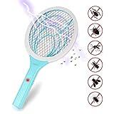 Lukasa Elektrische Fliegenklatsche, 3000 Volt Elektrische Moskito Bug Zapper Insektenvernichter Fliegenklatsche mit Doppelte Schichten Mesh Schutz