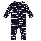wellyou, Schlafanzug, Pyjama für Jungen und Mädchen, Einteiler Langarm, Baby Kinder, Marine-blau weiß gestreift, Geringelt, Feinripp 100% Baumwolle, Größe 68-74