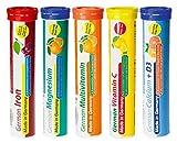 Brausetabletten Sortimentmix T&D Pharma - 5x20 = 100 German Brausetabletten - Vitamine und Mineralien in fruchtigen Geschmäckern - Made in Germany