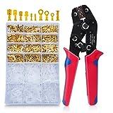 Crimpzange Flachsteckhülsen Set Mit 600 Stück Kabelstecker 0,25-1,5mm², HOMCA Crimpwerkzeuge Set Ferrule Crimper,Crimpzangen Aderendhülsen Set Für 2.8/4.8/6.3mm Crimpklemme
