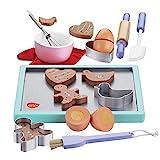bee SMART Kinder Hölzerne Keks / Plätzchen Backset aus Holz und Zubehör, 20 Stücke, Kekse / Ausstechformen, Backpinsel, Backblech, Teigroller UVM für Kinder