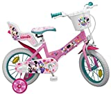 Kinderfahrrad Minnie Mouse 14 Zoll Mädchen-Fahrrad mit Puppensitz, Korb, Abnehmbaren Stützrädern