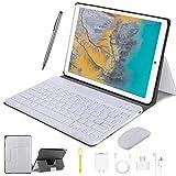 4G LTE Tablet Touchscreen 10 Zoll, Android 9.0 2 in1 Tablet mit Tastatur 4 GB RAM und 64 GB ROM, 8000 mAh 5.0 MP 8.0 MP HD Kamera, Dual-SIM, WiFi, Bluetooth, GPS, OTG, Typ C silber