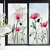 decalmile Wandtattoo Mohnblume Glasdekorfolie Blumen Fensteraufkleber Wohnzimmer Schlafzimmer Badezimmer Wanddeko