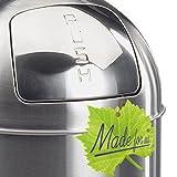 Made for us 55 Liter Edelstahl Retro PUSH-Abfalleimer mattiert 20er-Jahre Mülleimer nostalgie Küchen-Mülleimer Abfall-Behälter