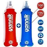 YANNIK Soft-Flask 2er-Pack Flexible Faltbare Trinkflaschen 500ml Blau + Rot - Wasserflasche Sportflasche Auslaufsicher Antibakteriell BPA-frei - Sport Camping Laufen Radfahren Wandern Outdoor