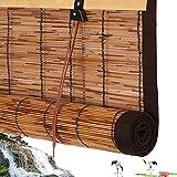 Bambusrollos für Aussen,Bambus Fensterrollo,Raffrollo Atmungsaktiv,Wasserdicht Schilfvorhang Rollo,Faltrollo Schnurzugrollo Vorhang Wandmontage,für Gärten,Terrassen,Braune Kante (W50xH60cm/20x24in)