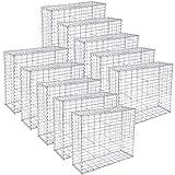 SONGMICS Gabione 10 Stück 100 x 80 x 30 cm Steinkorb für Gartenzaun GGB083V1