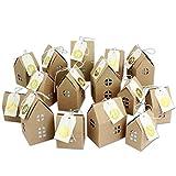 DIY Adventskalender zum Basteln und Befüllen - Häuser Set - mit goldenen Zahlenaufklebern - 24 naturbraune Schachteln aus 400g/m²-Karton zum Aufstellen - 24 Boxen - Weihnachtsdorf - wiederverwendbar