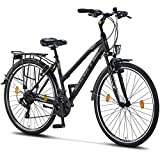 Licorne Bike Life L-V-ATB (Schwarz/Grau) 28 Zoll Damenfahrrad,Trekking, ATB, CTB ab 160 cm, Fahrrad-Licht, Shimano 21 Gang-Schaltung, Damen-Citybike, Retro, Holland, Amsterdam