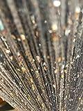HYSENM 2 Stücke Fadengardine Fadenvorhang 100 x 200cm einfarbig Glitzer schön für Hochzeit, Silber 100 x 200cm