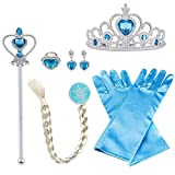 Vicloon ELSA Prinzessin Kostüme Set of 8, mit ELSA Handschuhe, Prinzessin Tiara Braid, Zauberstab Mädchen, Prinzessin Krone, Ohrringe, Ringe, 2-9 Jahre (Blau)