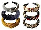 YIIFELL 6 Stück Haarreifen Damen, Vintage Haarband,Headband knoten Warp, Breit Retro Stirnband Haarreifen,boho Haarreifen,für Frauen und Mädchen