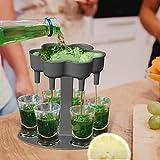 Kobay Schnapsverteiler - Schnapsglasspender und 6 Schnapsglas,Liquor Dispenser zum Befüllen von Flüssigkeiten, Cocktail-Shots Spender, Bar-Schnapsspender,Shot gläser,Bar Cocktail Set für 6 Personen