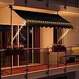 Swing & Harmonie LED - Markise mit Kurbel Klemmmarkise Balkonmarkise mit Beleuchtung und Solarmodul Fallarm Markise Sonnenschutz Terrasse Balkon (250x150, anthrazit)