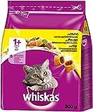 Whiskas Katzenfutter Trockenfutter Adult 1+ mit Huhn, 5 Beutel (5 x 800g)