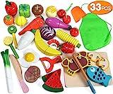 Lewo 33 Stück Spielen Sie Essen Spielzeug Obst schneiden Gemüse einstellen Magnetisch Hölzern Essen zubereiten Rollenspiel Küchen-Kits Frühe Lernspielzeug für Kleinkinder Jungen Mädchen Kinder