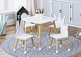 UTEX-Kindersitzgruppe,1 Kindertisch Und 4 Stühle Sitzgruppe Für Kinder,Aus Holz, Kindermöbel,Weiß