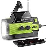AONCO Solar Radio AM/FM/NOAA Kurbelradio Tragbar USB Wiederaufladbar Notfallradio mit 4000mAh Power Bank, Led Taschenlampe, SOS Alarm und Leselicht für Camping, Survival, Reisen, Notfall