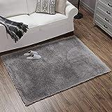 Teppich Wölkchen Hochflor-Plüsch-Teppich I Wohnzimmer Kinderzimmer Schlafzimmer Flur Läufer I rutschfeste Unterseite I Grau - 140 x 200