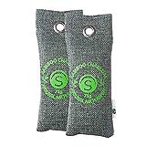 Bambus Aktivkohle Schuh-Geruchsentferner 2 x 75g | Schuhtrockner Anti Feuchtigkeit | Deo für Schuhe | Geruchsneutralisierer gegen Fußgeruch durch Schweißfüße | Schuhschrank Erfrischer | von Stimio
