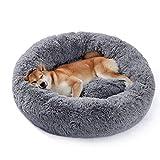 UMI by Amazon Hundebett Plüsch weich warm Donut Haustierbett für Hund Flauschiges kuscheliges Schlafbett Multi-Size-Haustier Sofa für klein-mittelgroße Hunde maschinenwaschbar grau L