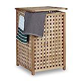 Relaxdays Wäschesammler Walnuss Wäschetruhe mit Deckel HBT 67,5 x 45,7 x 45,7 cm Wäschesortierer Wäschekiste Wäschebox Holz mit Leinensack Wäschekorb mit Wäschesack fassungsvermögen 75 L, natur