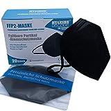 FFP2 Maske Schwarz DECADE Edition by Hygisun [20x| FFP2 Maske CE Zertifiziert durch Stelle 2797 KN95 Maske, Atemschutz-Maske FFP2 Masken, EINZELVERPACKT, Masken Mundschutz FFP2, Mund Nasen Schutzmaske
