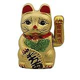 Superfreak Glückskatze - Maneki-Neko - Winkekatze aus Keramik - 17 cm - Gold
