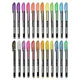Pretop Gelstifte Set | Gelschreiber | Multicolor Gel Stift Set Inklusive Metallic, Glitzer, Neon, waterchalk für Künsterbedarf, Erwachsene Malbücher, Zeichnen, Skizzieren, basteln usw