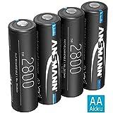 ANSMANN Akku AA Typ 2800mAh NiMH 1,2V - Mignon AA Batterien wiederaufladbar, hohe Kapazität ideal für hohen Strombedarf wie ferngesteuerte Fahrzeuge, Keyboard, Wildkamera, Blitzgerät (4 Stück)
