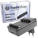 Trade-Shop Universal Ladegerät Ladestation Tischlader für Li-Ion 3,7V Akku bis 6,5cm, Ladeschale 360° drehbar passend für viele Smartphone Handy Digitalkamera Akkus