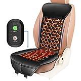 ELUTO Sitzheizung Auto Auflage Heizkissen 12V/24V Beheizte Sitzauflage mit Zeit Temperatur Kontrolleur Universal Vordersitz Heizauflage schwarz für Auto LKW