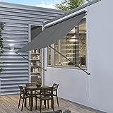 [pro.tec] Markise 300 x 120 cm Grau Witterungsbeständig Sonnenschutz Beschattung Terrasse Garten