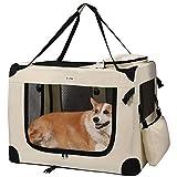 MC Star Transportbox Hundebox Hundetransportbox Katzen Faltbar Wasserdicht Oxford Leichte mit Fleece-Matte Beige XL