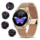 Smartwatch Damen,[elegant&stilvoll]Smartwatch Bluetooth Fitness Tracker mit IP68 wasserdicht/weibliches Periodenwerkzeug/SMS Anrufbenachrichtigung/Schlafüberwachung/Herzfrequenzmonitor für Android iOS