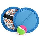 com-four 3-teiliges Klettball Spiel-Set in blau mit flexiblen Fangtellern und Ball (03-TLG - blau)