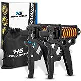HEAVY SPORTS ® Handtrainer - [2X] Fingertrainer mit verstellbarem 5-50kg Widerstand & [2X] Handschlaufen - inklusive Aufbewahrungsbeutel - mit E-Book