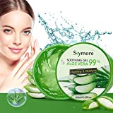 Skymore 300ml Aloe Vera Gel, Aloe Vera Creme für trockene Haut, After sun gel, Sonnenbrand Reparieren, Beruhigende und Pflegende, Feuchtigkeitspflege für Gesicht, Körper und Haar