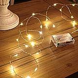 Led Lichterkette Batterie Strombetrieben, 1 Packung Batteriebetrieben 5m 50er Micro LED Kupferdraht Lichterketten für Schlafzimmer, Weihnachten, Innen, Feste, Hochzeiten, Dekoration(Warmweiß)