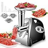Nestling® Elektrischer Fleischwolf 400W, Wurstfüller Multi Küchenmaschine, Wurstmacher mit 3 Mahlplatten und Wurstfüllrohren für den Hausgebrauch, Edelstahl Wurstmaschine/Schwarz
