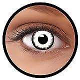 Farbige Kontaktlinsen weiß Vampir MIT STÄRKE   Ideal für Halloween, Karneval, Fasching oder Fastnacht   Inklusive Behälter von FXEYEZ   In verschiedenen Stärken als 2er Pack