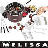 Melissa 16310178 Schokoladen-Fondue-Set, Schokoschmelzer, viel Zubehör, 4 Personen,Keramiktopf,70 Watt,Pralinen,Geschenk, ceramic, braun