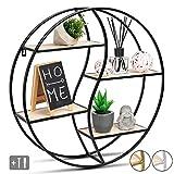 JustComfy Wandregal rund - stylisches Schweberegal als dekorative Ablagefläche - 55x13cm - schwarzer Metallrahmen mit Echtholz - ideal als Wanddeko oder Gewürzregal