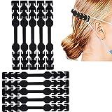 Ohrhaken Verlängerungshaken für mundschutz, Ohrenschutz Anti-Rutsch wiederverwendbar, 8 verstellbare Silikon Verstellschnalle, Ohrenriemen für Erwachsene und Kinder - Schwarz 10 Stück