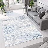 SHACOS WohnzimmerTeppich Modern Großer Teppich Rautenmuster Kurzflor Blau für Wohnzimmer Schlafzimmmer Esszimmer, Grösse:120x170 cm