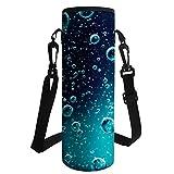 Hugs Idea Neopren-isolierte Trinkflaschen-Tragetasche mit Schultergurt L Wassertropfen