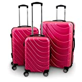 BERWIN® Kofferset 3-teilig Reisekoffer Trolley Hartschalenkoffer ABS Teleskopgriff Modell Wave 2018 (Pink)
