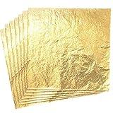 Imitation Blattgold,100 Blatt Gold Blatt Gold Leaf für DIY Vergoldung Handwerk Kunst Projekt Möbel Dekoration 14 cm * 14 cm