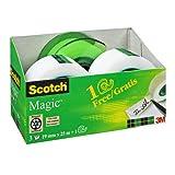 Scotch Magic Klebeband Promotion AAMT-3 – 3 Rollen beschriftbarer, matter Klebefilm 19 mm x 25 m inkl. gratis Handabroller, grün